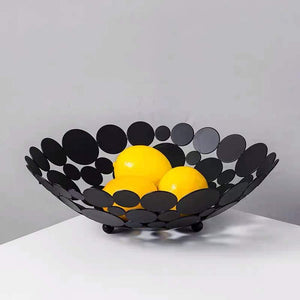 Best seller  littlemu modern creative fruit basket bowl for kitchen counters luxury large metal iron table centerpiece stand for serving fruit snack and home decorative balls black