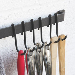Online shopping wallniture kitchen rail organizer iron hanging utensils rack with hooks frosty black 30 inch