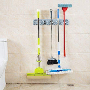 Purchase joshnese mop broom holder broom hanger with 5 positions and 6 hooks wall mounted broom organizer home tools storage rack for kitchen garden and garage