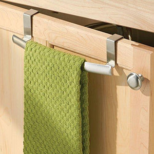 Purchase dulceny modern metal kitchen storage over cabinet curved towel bar hang on inside or outside of doors organize and hang hand dish and tea towels