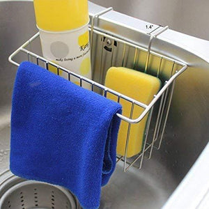 Latest chilholyd sponge holder sink caddy sink organizer caddy kitchen brush soap stainless steel hanging drain basket for soap brush dishwashing liquid sink organizer drainer rack