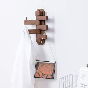 Best solid wood swivel coat hooks folding swing arm 5 hat hanger rail multi foldable arms towel clothes hanger for bathroom entryway bedroom office kitchen kids garage wall mount accessories walnut wood