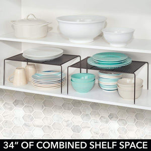 Related mdesign metal kitchen pantry countertop organizer storage shelves raised cabinet shelf racks for food dishes plates dishes bowls mugs glasses non skid feet extra large 2 pack bronze