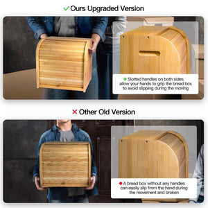 Get bamboo bread box finew 2 layer rolltop bread bin for kitchen large capacity wooden bread storage holder countertop bread keeper with toaster tong 15 x 9 8 x 14 5 self assembly
