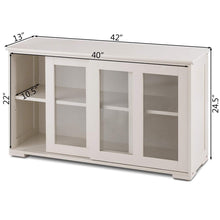 Products costzon kitchen storage sideboard antique stackable cabinet for home cupboard buffet dining room cream white with sliding door window