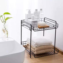 Top rated aiyoo 2 tier black metal bathroom standing storage organizer countertop kitchen condiment shelf rack for spice cans jars bottle shelf holder rack