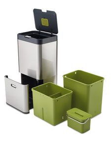 Products joseph joseph 30022 intelligent waste totem kitchen trash can and recycle bin unit with compost bin 16 gallon 60 liter stainless steel