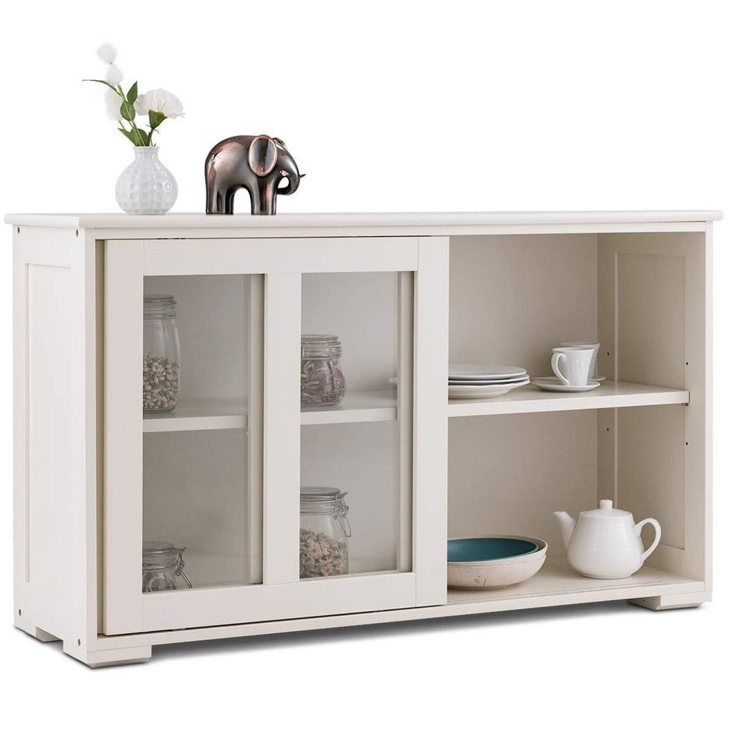Organize with costzon kitchen storage sideboard antique stackable cabinet for home cupboard buffet dining room cream white with sliding door window