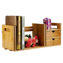 Latest cocoarm bamboo wood desk organizer expendable tabletop bookshelf office storage adjustable table accessory book shelf media rack with 2 drawers cd holder display for home dorm kitchen plants