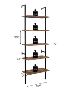 Shop ironck industrial ladder shelf bookcase 5 tier wood shelves wall mounted stable expand space bookshelf retro wall decor furniture for living room kitchen bar storage