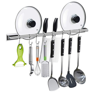 Amazon junyuan kitchen pot rack utensil rail cookware pan hanging rack storage organizer bathroom shelf bath towel bar holder rack with 8 sliding hooks wall mounted 304 stainless steel 19 68