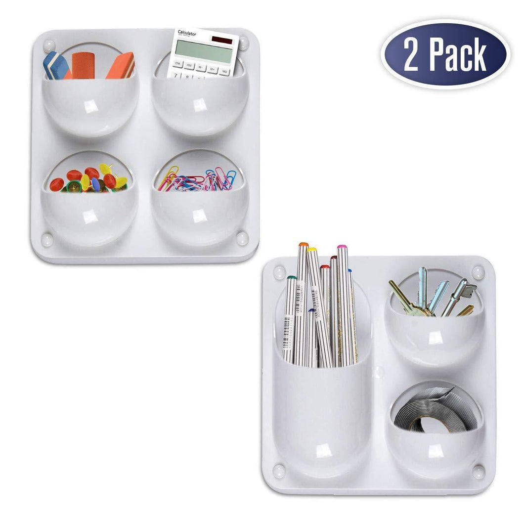 Exclusive wall storage magnetic organizer caddy self adhesive with multiple mounting options store pens pencils sticky notes and other supplies for office kitchen refrigerator locker cubicle and more