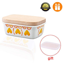 Buy now shineme butter dish with wooden lid enamel butter keeper butter container cheese storage holder used for kitchen counter or fridge white