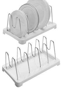 Budget 2 pack adjustable pot lid holder plate rack pan and pot organizer for kitchen cabinet sus304 stainless steel rust proof