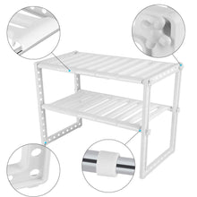 Storage organizer telescopic stand storage shelf 2 tiers under sink organizers expandable storage space saving for kitchen garden home