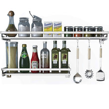 Latest eastore life wall mounted spice rack with 4 hooks 304 stainless steel seasoning storage shelf for kitchen easy to assemble 23 6 inch