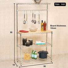 Order now metal bakers rack organizer stand shelf kitchen microwave cart storage countertop dorm microwave stand kitchen storage shelving with cutting board microwave shelf hooks for kitchen nsf certification