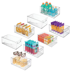 Budget mdesign deep plastic kitchen storage organizer container bin with handles for pantry cabinets shelves refrigerator freezer bpa free 14 5 long 8 pack clear