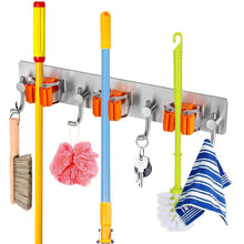 Selection broom and mop holder with storage hooks wall mounted no drill 3m self adhesive tool organizer stainless steel base anti slip silicone handle gripper for home kitchen garden garage storage systems
