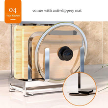 Select nice multifunctional cutting board and knife holder stainless steel organizer with anti slippery mat and bottom removable water tray kitchen utensils storage drying drainer rack for knives pot cover fork