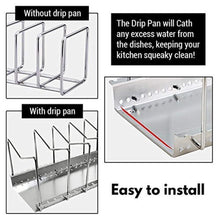 Save kitchen pot lid organizer anti rust stainless steel pan rack holder with 7 adjustable compartments for dinnerware bakeware cookware