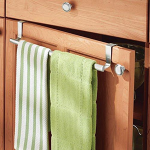 Amazon binovery adjustable expandable kitchen over cabinet towel bar hang on inside or outside of doors storage for hand dish tea towels 9 25 to 17 wide 2 pack brushed stainless steel
