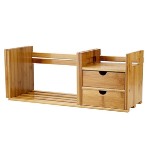 Online shopping cocoarm bamboo wood desk organizer expendable tabletop bookshelf office storage adjustable table accessory book shelf media rack with 2 drawers cd holder display for home dorm kitchen plants