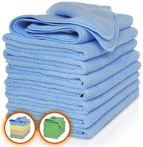 Storage vibrawipe microfiber cloth pack of 8 pieces all blue microfiber cleaning cloths high absorbent lint free streak free for kitchen car windows
