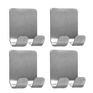 Great 4 pack plug holder hook razor holder for shower sticking wall self adhesive for hanging kitchen bathroom double hook brushed stainless steel