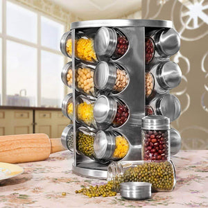 Products spice rack revolving stainless steel seasoning storage organizer spice carousel tower for kitchen set of 16 jars