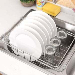 Save on jinpai stainless steel kitchen sink rack drain basket retractable fruit and vegetable dishes storage basket drain rack