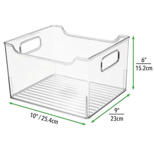 Heavy duty mdesign plastic kitchen pantry cabinet refrigerator or freezer food storage bin box deep container with handles organizer for fruit vegetables yogurt snacks pasta 10 long 8 pack clear