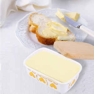 Discover the shineme butter dish with wooden lid enamel butter keeper butter container cheese storage holder used for kitchen counter or fridge white