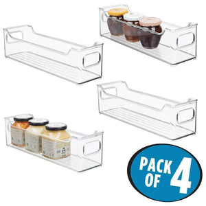 Heavy duty mdesign slim stackable plastic kitchen pantry cabinet refrigerator or freezer food storage bin with handles organizer for fruit yogurt snacks pasta bpa free 14 5 long 4 pack clear