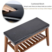 Explore nnewvante shoe bench free standing organizing rack faux leather shoe storage racks bamboo seat for closet bedroom kitchen entry 25 6in