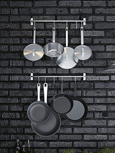 Featured stainless steel gourmet kitchen 23 25 inch wall rail pot pan utensil lid rack storage organizer with 10 s hooks