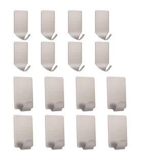 Storage self adhesive hooks stainless steel wall hooks ultra strong waterproof wall hangers for coat hats robe towel keys bags home kitchen bathroom bedroom 16 pack