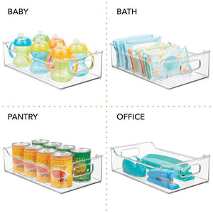 Shop for mdesign wide stackable plastic kitchen pantry cabinet refrigerator or freezer food storage bin with handles organizer for fruit yogurt snacks pasta bpa free 14 5 long 4 pack clear