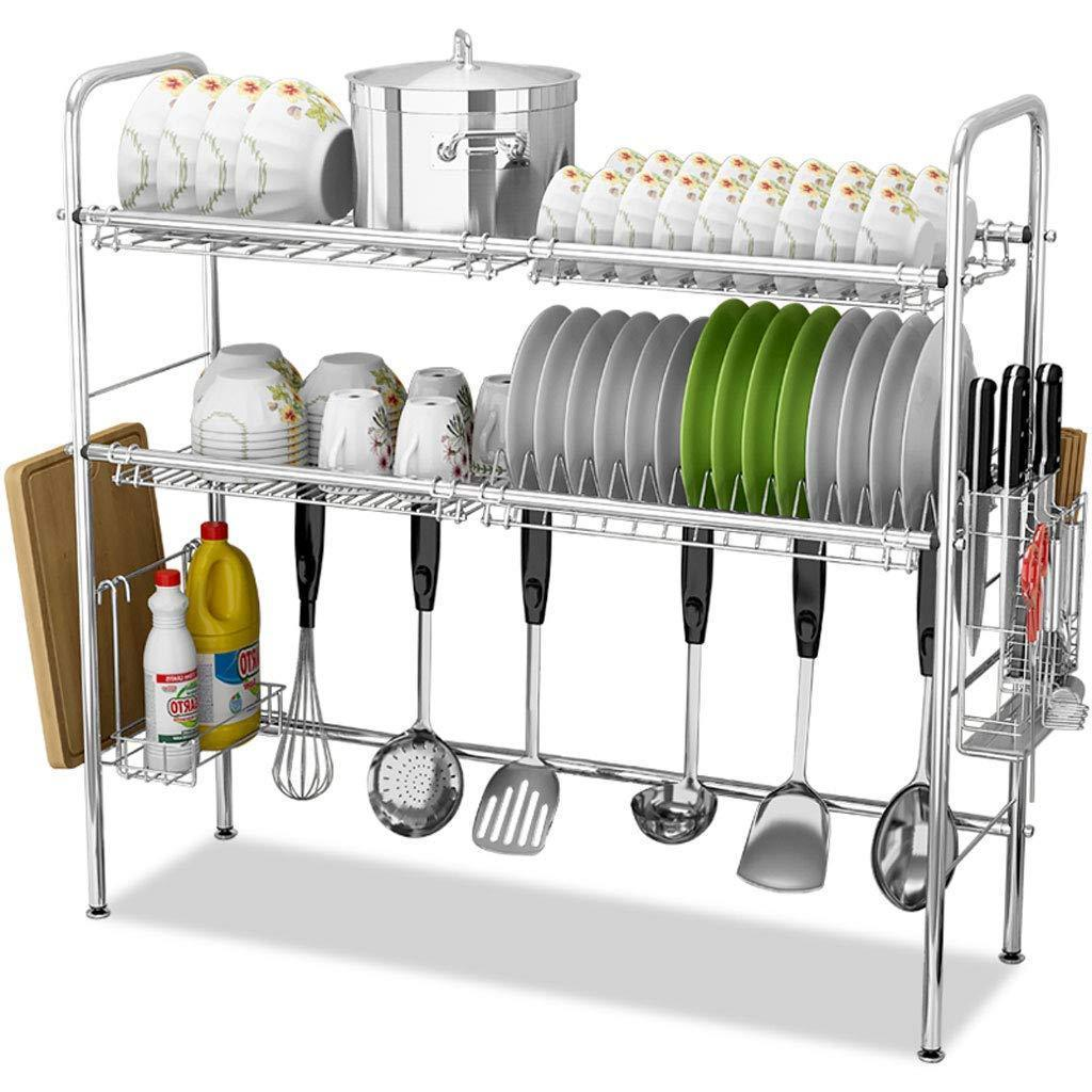 Stainless Steel Sink Drain Rack Storage Shelf, Dish Rack Cutting Board Knife Chopstick Holder Kitchen Shelves, Multi-Style Optional (Color : Silver, Design : B-Double Slot)