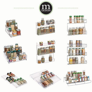 Results mdesign plastic kitchen spice bottle rack holder food storage organizer for cabinet cupboard pantry shelf holds spices mason jars baking supplies canned food 4 levels 4 pack clear