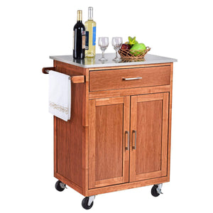 Budget giantex wood kitchen trolley cart rolling kitchen island cart with stainless steel top storage cabinet drawer and towel rack