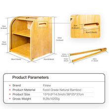 Explore bamboo bread box finew 2 layer rolltop bread bin for kitchen large capacity wooden bread storage holder countertop bread keeper with toaster tong 15 x 9 8 x 14 5 self assembly