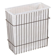 Kitchen mdesign metal wire wall mount kitchen storage organizer basket trash can for cabinet and pantry doors holds bags tin foil wax paper saran wrap solid steel bronze