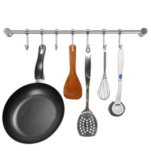 Top rated sumnacon pot pan rack with 7 hooks solid stainless steel rail kitchen cookware utensil pot rack hooks hanger 15 inch wall mounted heavy duty kitchenware lid towels storage organizer easy install