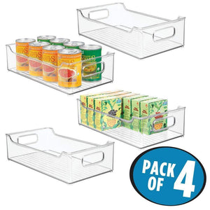 Storage organizer mdesign wide stackable plastic kitchen pantry cabinet refrigerator or freezer food storage bin with handles organizer for fruit yogurt snacks pasta bpa free 14 5 long 4 pack clear