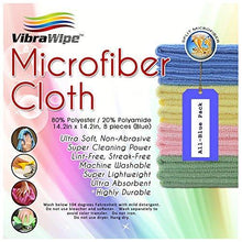 Selection vibrawipe microfiber cloth pack of 8 pieces all blue microfiber cleaning cloths high absorbent lint free streak free for kitchen car windows