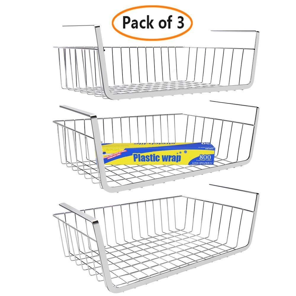 Save monpearl 3 pack 16 4 under shelf basket under cabinet wire shelves for cabinet thickness max 1 45 hanging shelf basket on kitchen pantry desk bookshelf silver large size