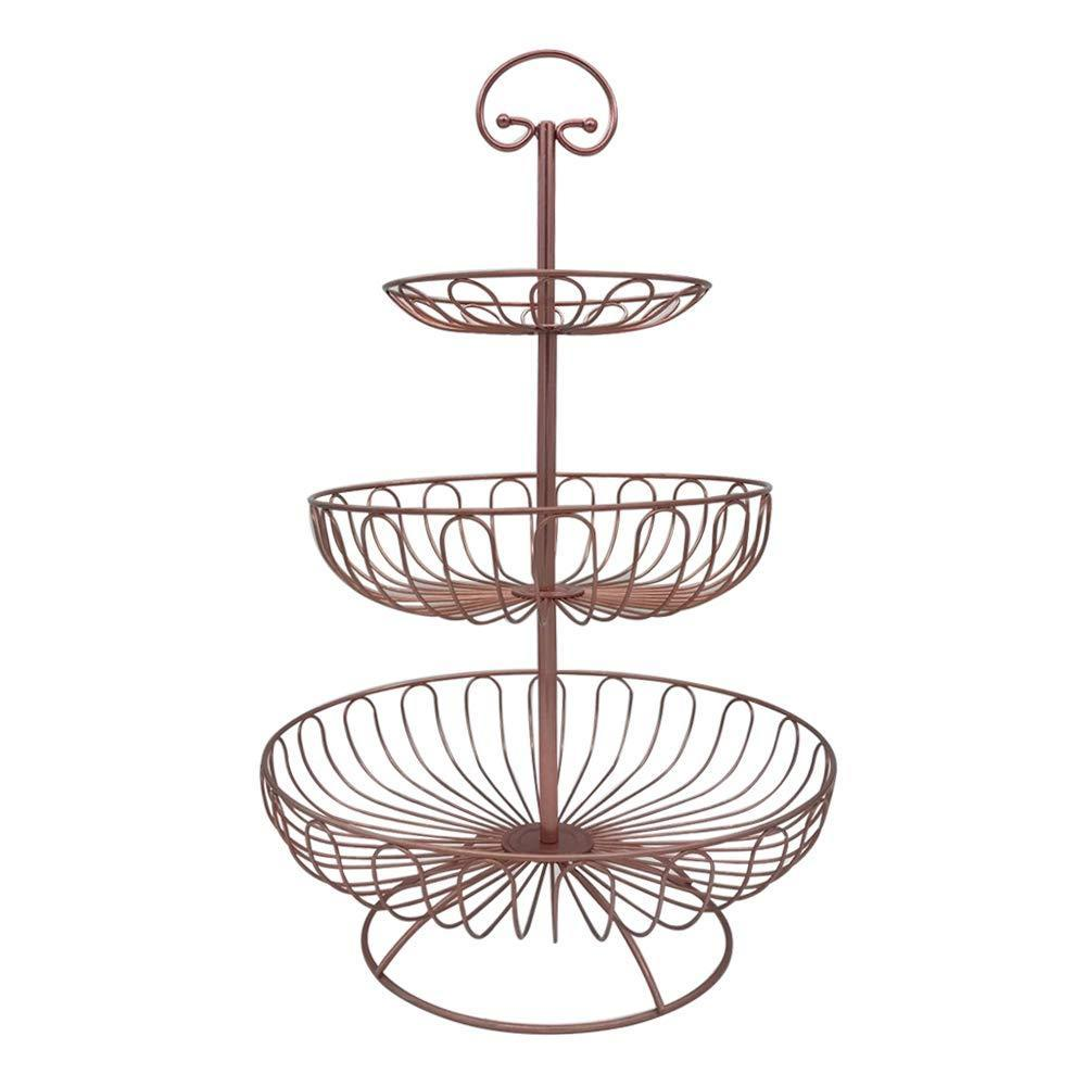 Storage organizer 3 tier metal wire fruit vegetable basket tower decorative fruit basket countertop stand kitchen counter produce organizer with top handle bronze pink