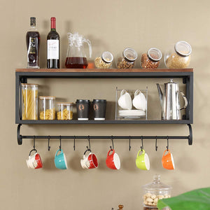 Try warm van rustic wood with metal bracket wall shelf living room or bedroom or kitchen multi use wall mount shelves storage rack upside down mug coffee cup holder bar club party decoration shelf
