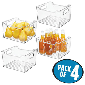 Get mdesign plastic kitchen pantry cabinet refrigerator or freezer food storage bin with handles organizer for fruit yogurt snacks pasta bpa free 10 long 4 pack clear